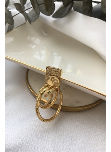 My Joyas Design My Joyas Design  Kaplama Plaka İÇinden Sarmal Yılan GeÇişli Kadın Tekli Küpe Altın